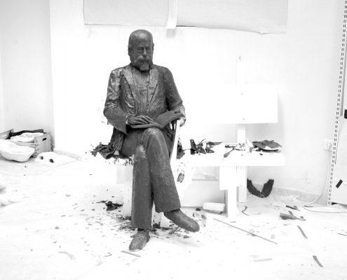 Escultura de poliespán y cera proceso de modelado