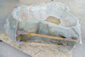 molde de silicona y fibra de vidrio
